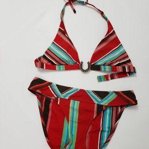 Bebe Multicolor Striped Bikini SZ M
